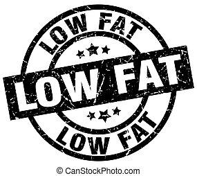 low fat round grunge black stamp