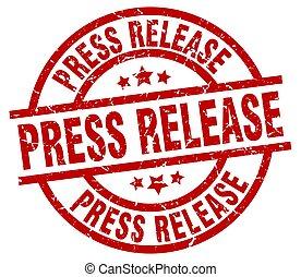 press release round red grunge stamp