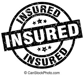 insured round grunge black stamp