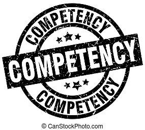 competency round grunge black stamp