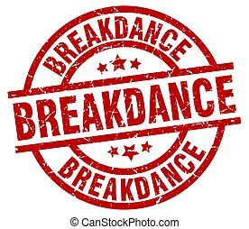 breakdance round red grunge stamp