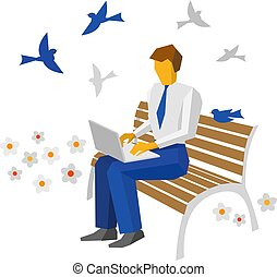 Businessman working with laptop outdoor.