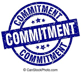 commitment blue round grunge stamp