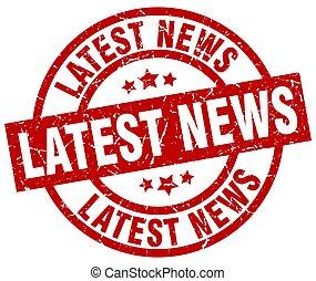 latest news round red grunge stamp