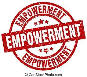 empowerment round red grunge stamp