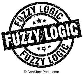fuzzy logic round grunge black stamp