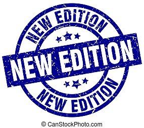 new edition blue round grunge stamp