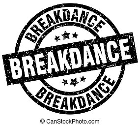 breakdance round grunge black stamp
