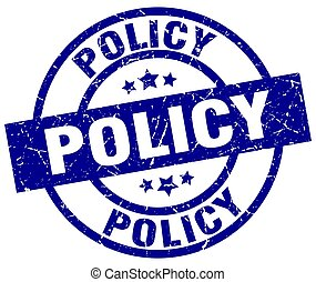 policy blue round grunge stamp
