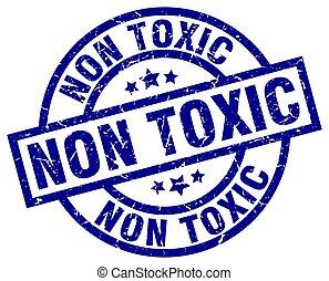 non toxic blue round grunge stamp
