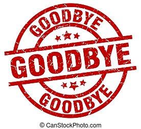 goodbye round red grunge stamp