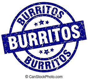 burritos blue round grunge stamp