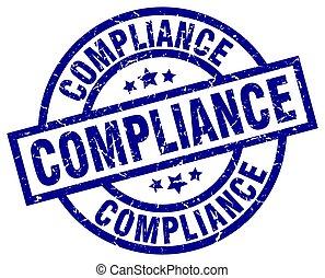 compliance blue round grunge stamp