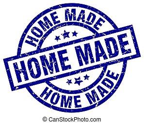 home made blue round grunge stamp