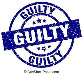 guilty blue round grunge stamp