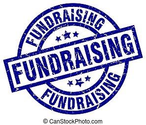 fundraising blue round grunge stamp