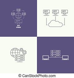 Abstract background with a network server. Storage of...