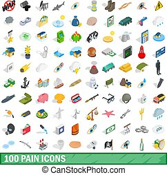100 pain icons set, isometric 3d style