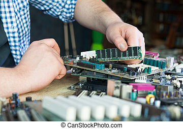 Service engineer work with computer motherboard - Service...