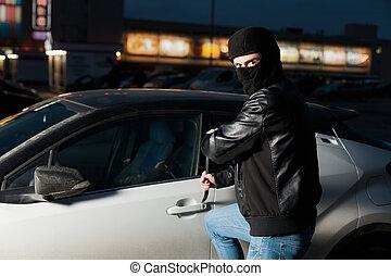 puerta, coche, ladrón,  jemmy, macho, abierto