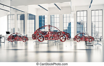 Car service or manufacturing icon - Car icon made of gears...