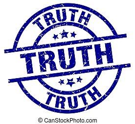 truth blue round grunge stamp