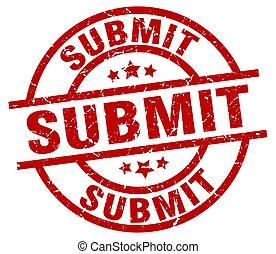 submit round red grunge stamp