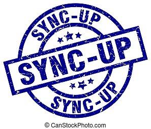 sync-up blue round grunge stamp