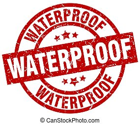 waterproof round red grunge stamp