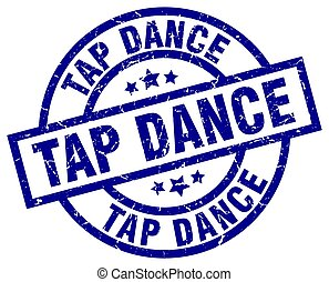 tap dance blue round grunge stamp