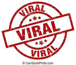 viral round red grunge stamp