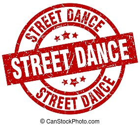 street dance round red grunge stamp