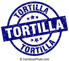 tortilla blue round grunge stamp