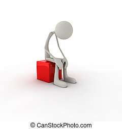 Figure sitting on chair - 3D figure sits on red chair