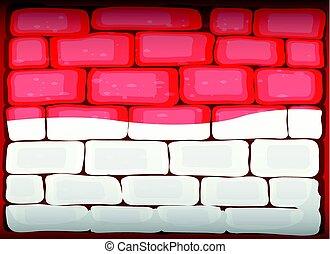 Indonesia flag painted on brickwall illustration