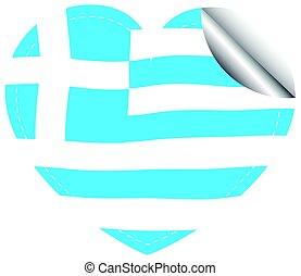 Heart shape sticker for Greece flag