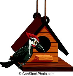 Woodpecker standing on birdhouse illustration