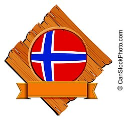 Norway flag on wooden board