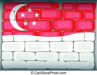 Singapore flag painted on brickwall illustration