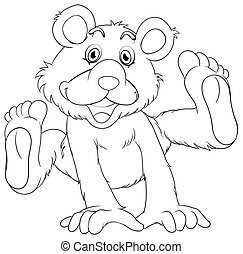 Animal outline for grizzly bear illustration