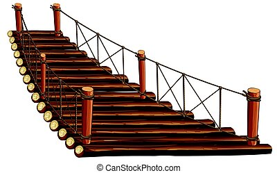 Wooden bridge with rope illustration