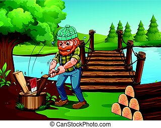 Man chopping woods by the river illustration