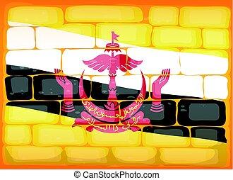 Brunei flag painted on brickwall illustration