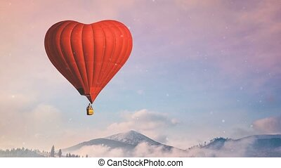 Red hot air balloon heart shape fly in blue and pink pastel sky