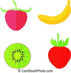 Four Flat Fruits with Texture