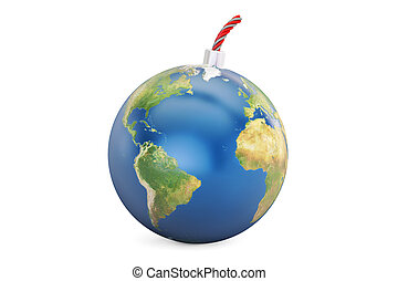 Earth bomb, 3D rendering isolated on white background