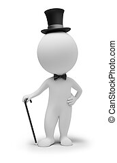 3d small people - gentleman in a hat and with a cane. 3d...
