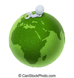 3d small people - Green Earth - 3d small people lying on a...