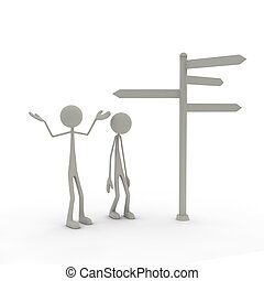 Figures with direction sign arms up