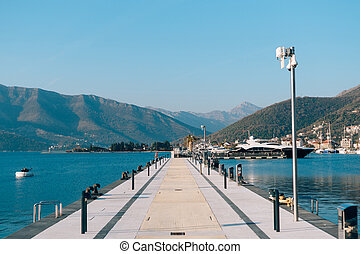 Boat dock in Montenegro, Budva and Tivat. Porto Montenegro...